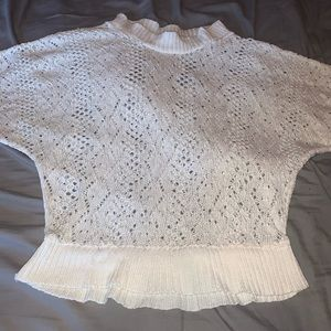(3/$20) say what white crochet 1/2 sleeve crop top